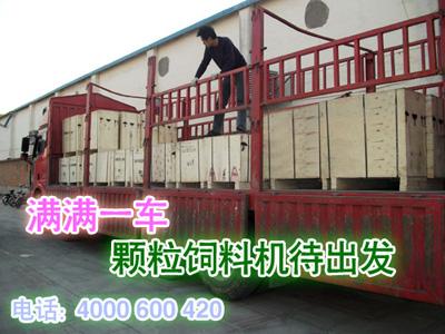 客户购买的鸡饲料颗粒机加工设备准备发货